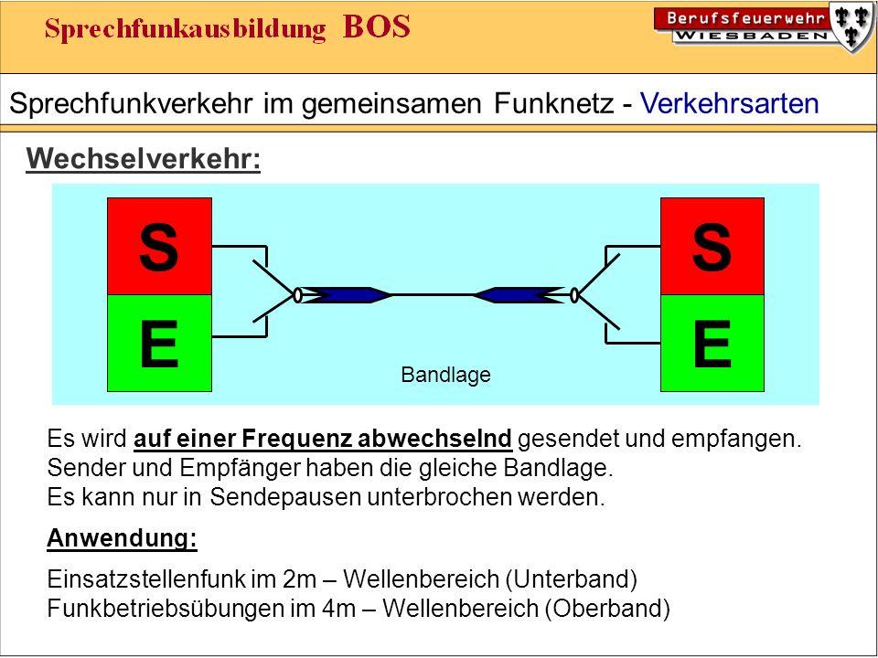 Sprechfunkverkehr im gemeinsamen Funknetz - Verkehrsarten Wechselverkehr: S EE S Es wird auf einer Frequenz abwechselnd gesendet und empfangen.