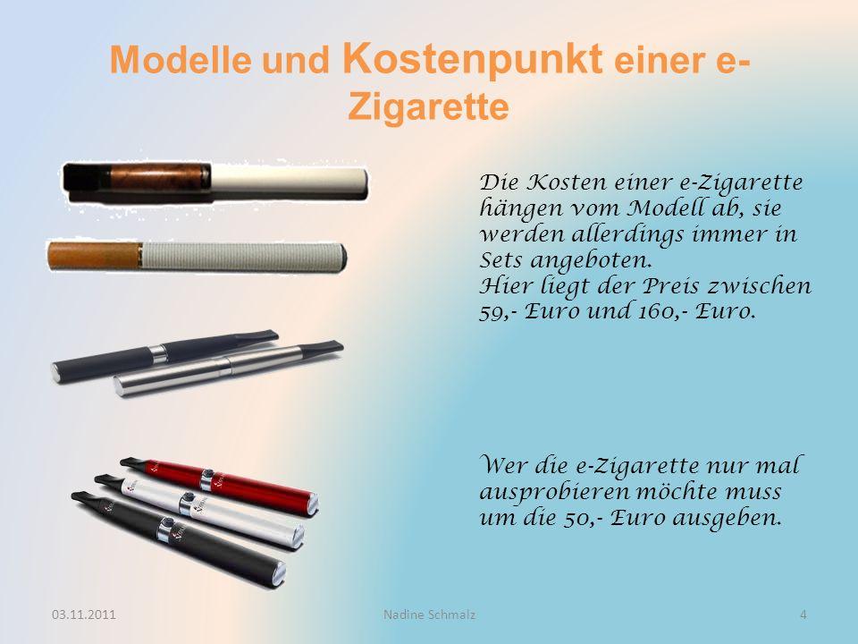 Modelle und Kostenpunkt einer e- Zigarette Die Kosten einer e-Zigarette hängen vom Modell ab, sie werden allerdings immer in Sets angeboten.