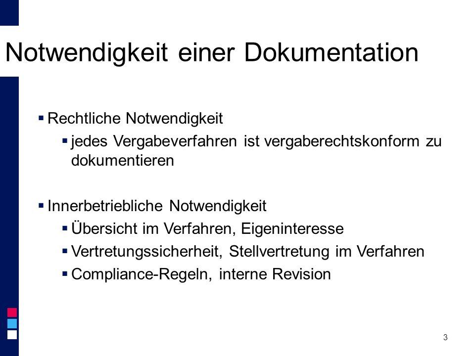 Notwendigkeit einer Dokumentation 3  Rechtliche Notwendigkeit  jedes Vergabeverfahren ist vergaberechtskonform zu dokumentieren  Innerbetriebliche