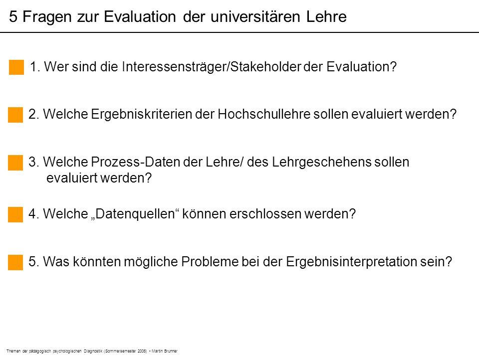 Themen der pädagogisch psychologischen Diagnostik (Sommersemester 2006) Martin Brunner 5 Fragen zur Evaluation der universitären Lehre 1.