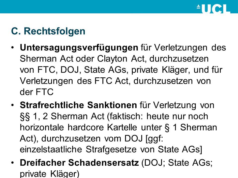 C. Rechtsfolgen Untersagungsverfügungen für Verletzungen des Sherman Act oder Clayton Act, durchzusetzen von FTC, DOJ, State AGs, private Kläger, und