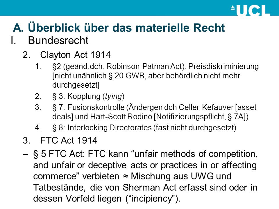 A. Überblick über das materielle Recht I.Bundesrecht 2.Clayton Act 1914 1.§2 (geänd.dch.