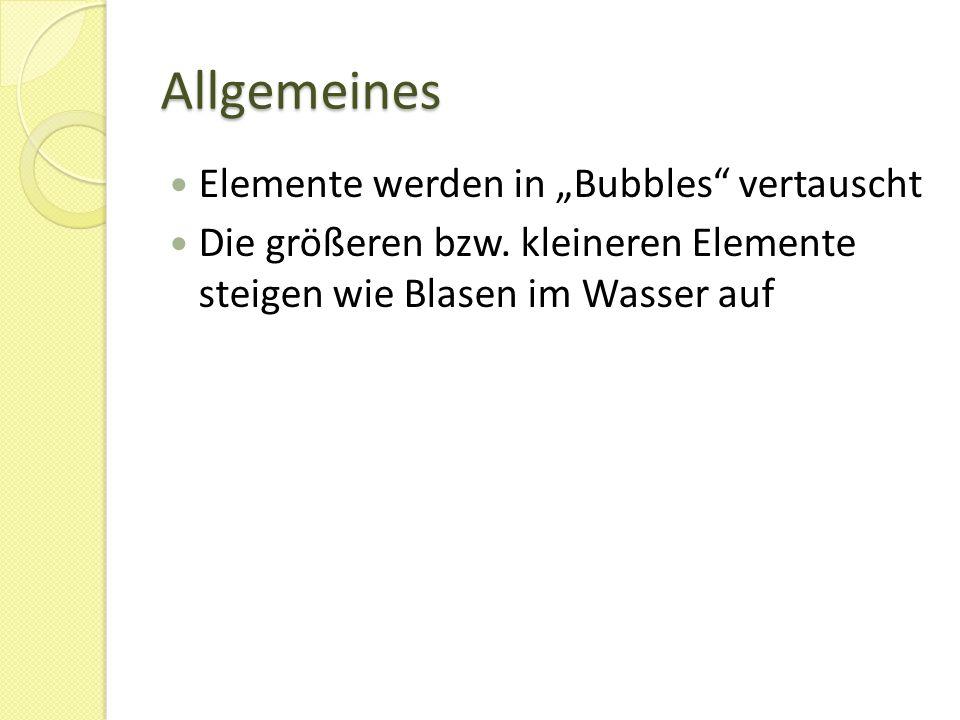 """Aufbau Bubble-Phase -> Phase in der die einzelnen Elemente """"untersucht und mit einander verglichen werden, endet wenn die Eingabe-Liste einmal durchlaufen wurde und beginnt dann wieder von neuem Eingabe-Liste -> Liste der Elemente Eingabe-Liste wird in der Bubble-Phase von links nach rechts durchlaufen"""
