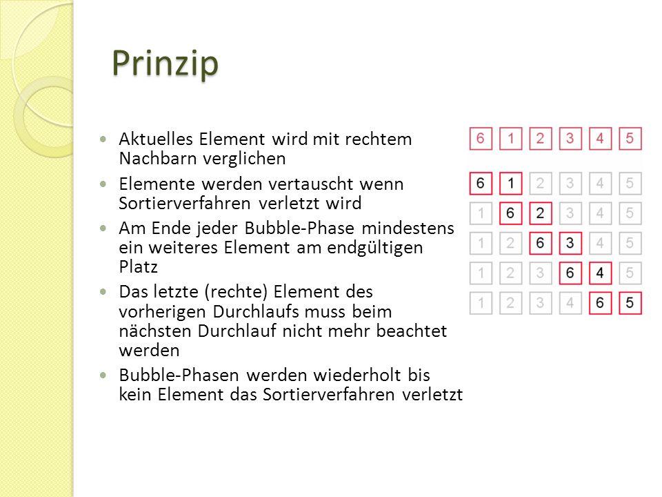 Prinzip Aktuelles Element wird mit rechtem Nachbarn verglichen Elemente werden vertauscht wenn Sortierverfahren verletzt wird Am Ende jeder Bubble-Phase mindestens ein weiteres Element am endgültigen Platz Das letzte (rechte) Element des vorherigen Durchlaufs muss beim nächsten Durchlauf nicht mehr beachtet werden Bubble-Phasen werden wiederholt bis kein Element das Sortierverfahren verletzt