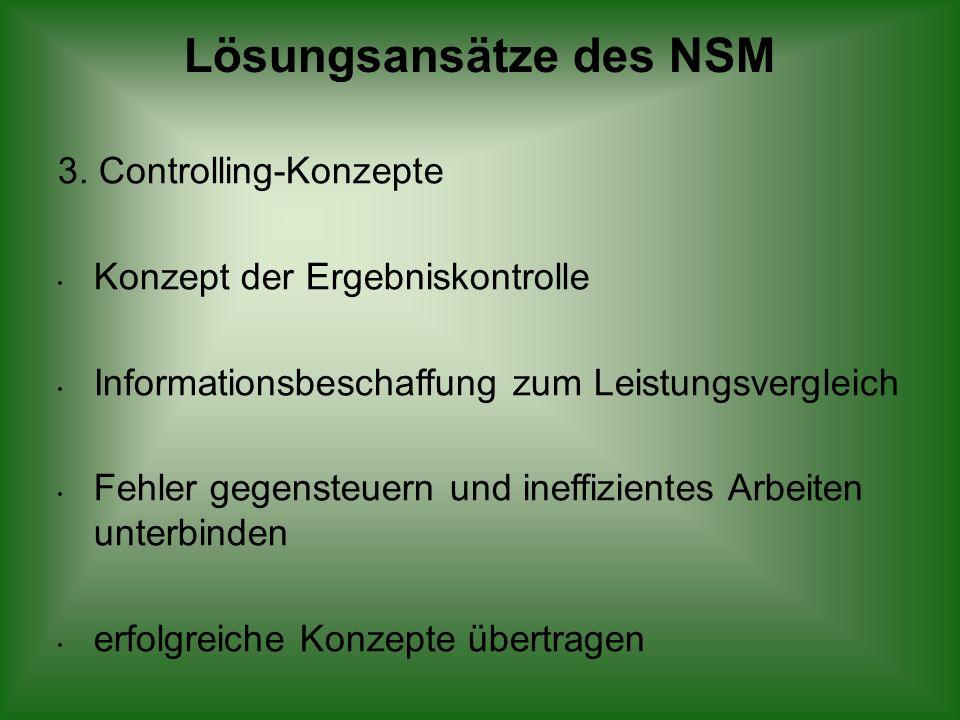 Lösungsansätze des NSM 3. Controlling-Konzepte Konzept der Ergebniskontrolle Informationsbeschaffung zum Leistungsvergleich Fehler gegensteuern und in
