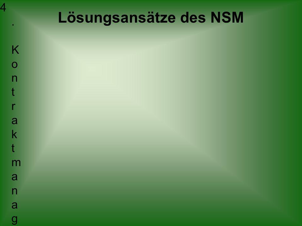 Lösungsansätze des NSM 4. K o n t r a k t m a n a g e m e n t L e i s t u n g e n i n F o r m v o n V e r t r ä g e n Ä m t e r m i t f r e i e r M e