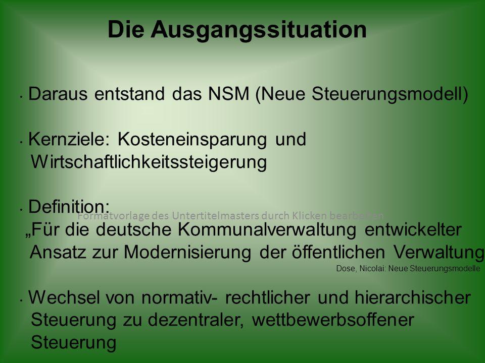 Formatvorlage des Untertitelmasters durch Klicken bearbeiten Die Ausgangssituation Daraus entstand das NSM (Neue Steuerungsmodell) Kernziele: Kostenei