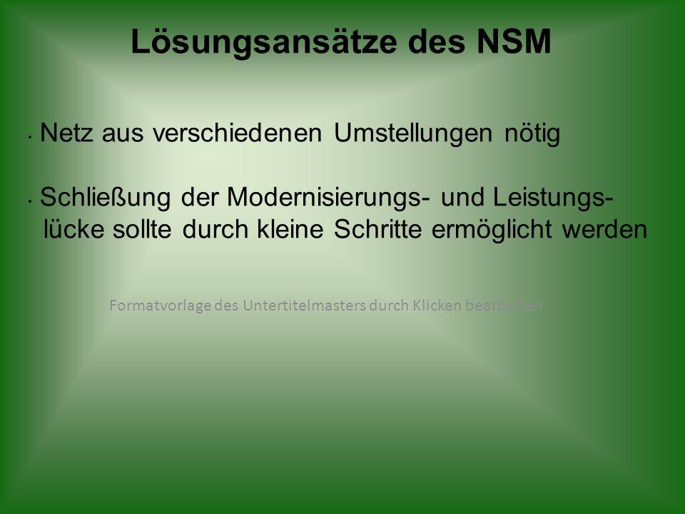 Formatvorlage des Untertitelmasters durch Klicken bearbeiten Lösungsansätze des NSM Netz aus verschiedenen Umstellungen nötig Schließung der Modernisi