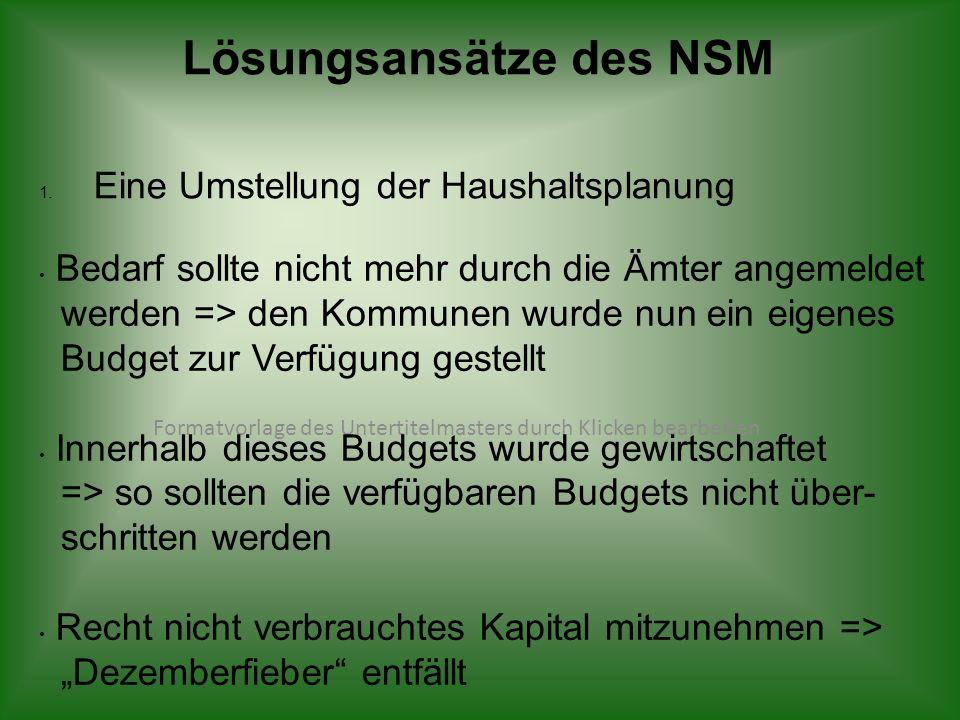 Formatvorlage des Untertitelmasters durch Klicken bearbeiten Lösungsansätze des NSM 1. Eine Umstellung der Haushaltsplanung Bedarf sollte nicht mehr d