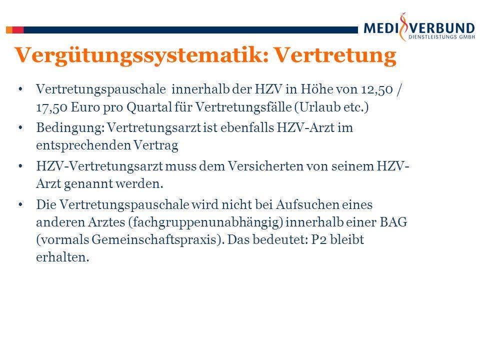 Vertretungspauschale innerhalb der HZV in Höhe von 12,50 / 17,50 Euro pro Quartal für Vertretungsfälle (Urlaub etc.) Bedingung: Vertretungsarzt ist ebenfalls HZV-Arzt im entsprechenden Vertrag HZV-Vertretungsarzt muss dem Versicherten von seinem HZV- Arzt genannt werden.