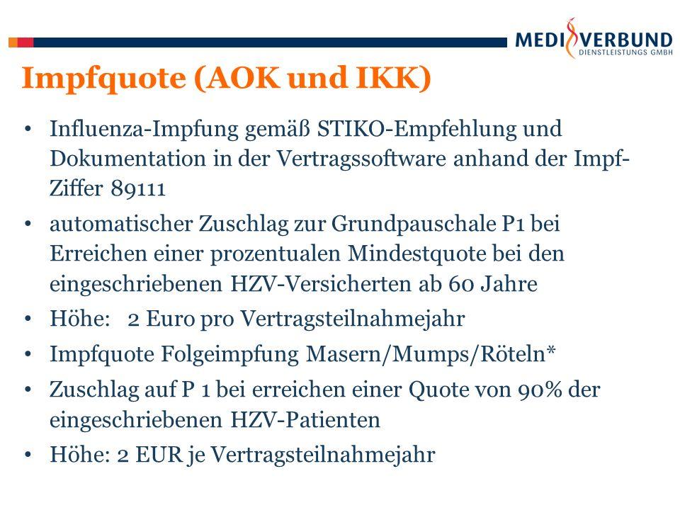 Influenza-Impfung gemäß STIKO-Empfehlung und Dokumentation in der Vertragssoftware anhand der Impf- Ziffer 89111 automatischer Zuschlag zur Grundpauschale P1 bei Erreichen einer prozentualen Mindestquote bei den eingeschriebenen HZV-Versicherten ab 60 Jahre Höhe: 2 Euro pro Vertragsteilnahmejahr Impfquote Folgeimpfung Masern/Mumps/Röteln* Zuschlag auf P 1 bei erreichen einer Quote von 90% der eingeschriebenen HZV-Patienten Höhe: 2 EUR je Vertragsteilnahmejahr Impfquote (AOK und IKK)