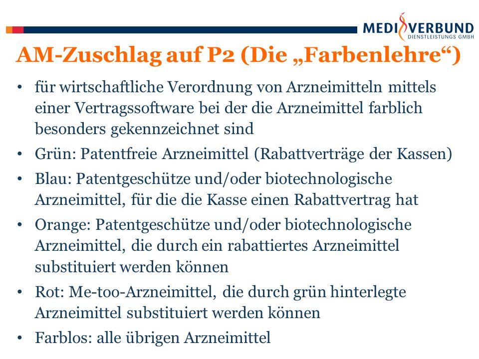 """für wirtschaftliche Verordnung von Arzneimitteln mittels einer Vertragssoftware bei der die Arzneimittel farblich besonders gekennzeichnet sind Grün: Patentfreie Arzneimittel (Rabattverträge der Kassen) Blau: Patentgeschütze und/oder biotechnologische Arzneimittel, für die die Kasse einen Rabattvertrag hat Orange: Patentgeschütze und/oder biotechnologische Arzneimittel, die durch ein rabattiertes Arzneimittel substituiert werden können Rot: Me-too-Arzneimittel, die durch grün hinterlegte Arzneimittel substituiert werden können Farblos: alle übrigen Arzneimittel AM-Zuschlag auf P2 (Die """"Farbenlehre )"""