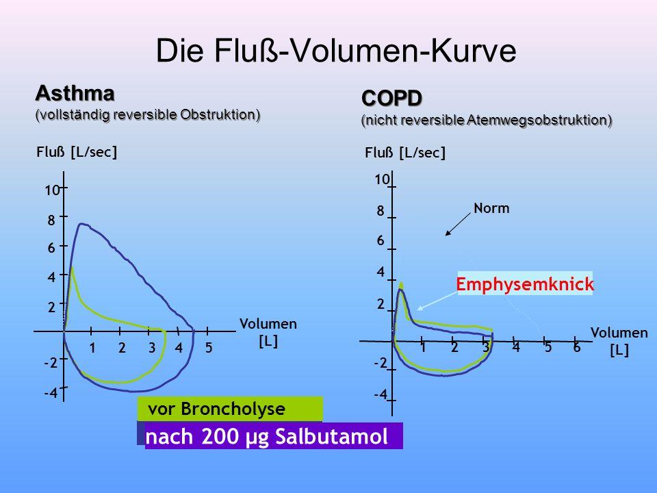 Die Fluß-Volumen-Kurve 2 4 6 8 10 -2 -4 123 4 56 Norm Emphysemknick Fluß [L/sec] Volumen [L] 2 4 6 8 10 -2 -4 123 4 5 Fluß [L/sec] Volumen [L] vor Bro