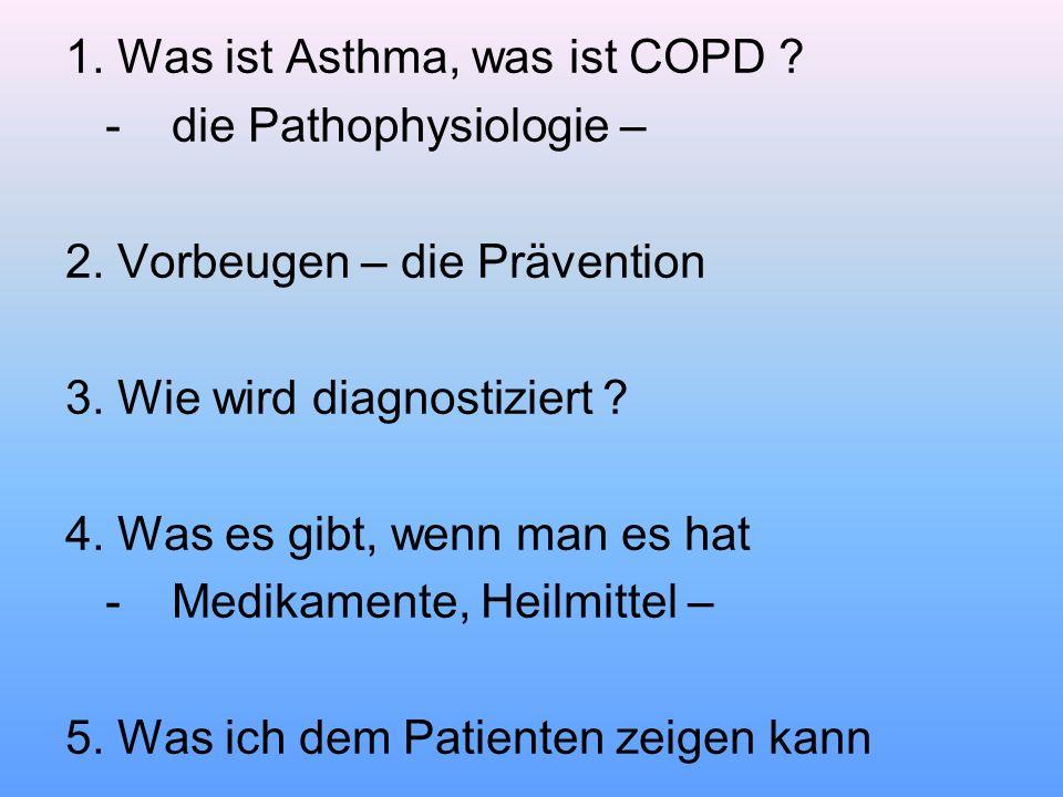 1. Was ist Asthma, was ist COPD ? -die Pathophysiologie – 2. Vorbeugen – die Prävention 3. Wie wird diagnostiziert ? 4. Was es gibt, wenn man es hat -