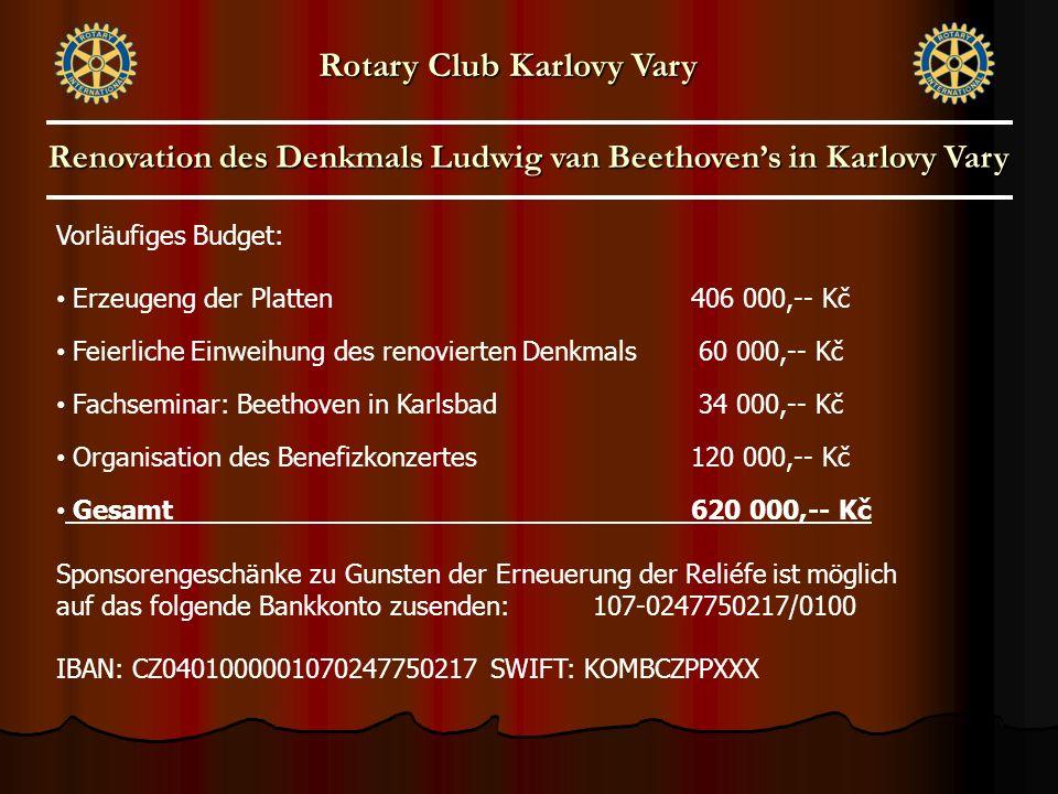 Vorläufiges Budget: Erzeugeng der Platten406 000,-- Kč Feierliche Einweihung des renovierten Denkmals 60 000,-- Kč Fachseminar: Beethoven in Karlsbad