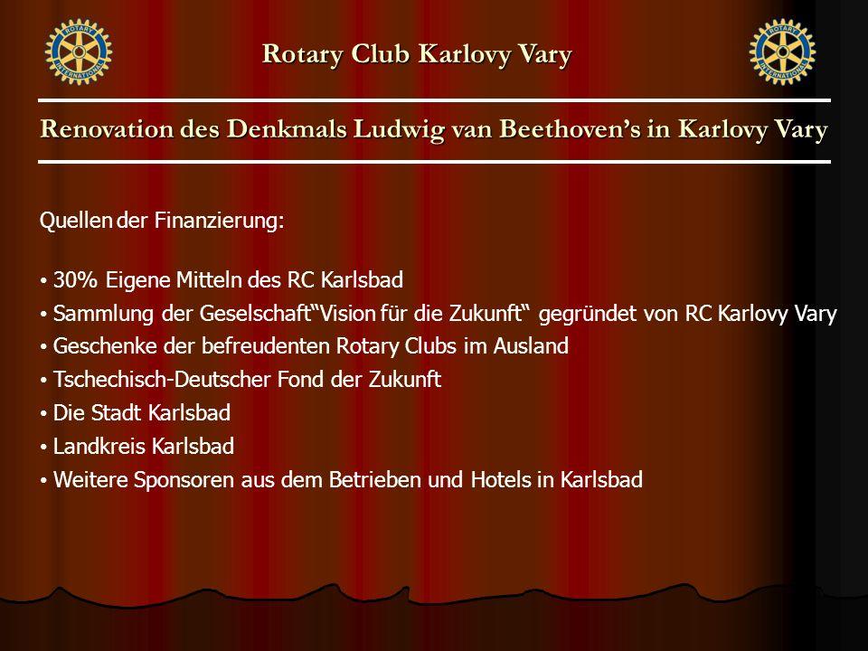 """Quellen der Finanzierung: 30% Eigene Mitteln des RC Karlsbad Sammlung der Geselschaft""""Vision für die Zukunft"""" gegründet von RC Karlovy Vary Geschenke"""