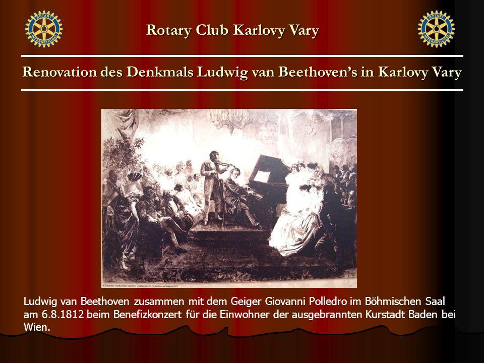 Ludwig van Beethoven zusammen mit dem Geiger Giovanni Polledro im Böhmischen Saal am 6.8.1812 beim Benefizkonzert für die Einwohner der ausgebrannten