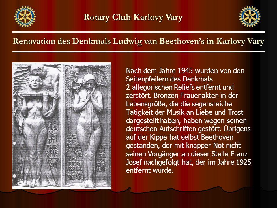 Nach dem Jahre 1945 wurden von den Seitenpfeilern des Denkmals 2 allegorischen Reliefs entfernt und zerstört. Bronzen Frauenakten in der Lebensgröße,