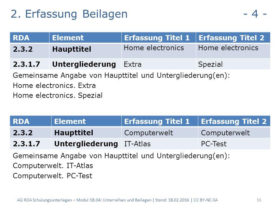 2. Erfassung Beilagen - 4 - Gemeinsame Angabe von Haupttitel und Untergliederung(en): Home electronics. Extra Home electronics. Spezial Gemeinsame Ang