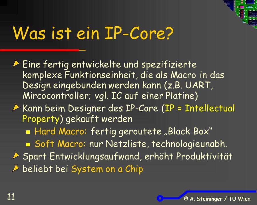 © A. Steininger / TU Wien 11 Was ist ein IP-Core.