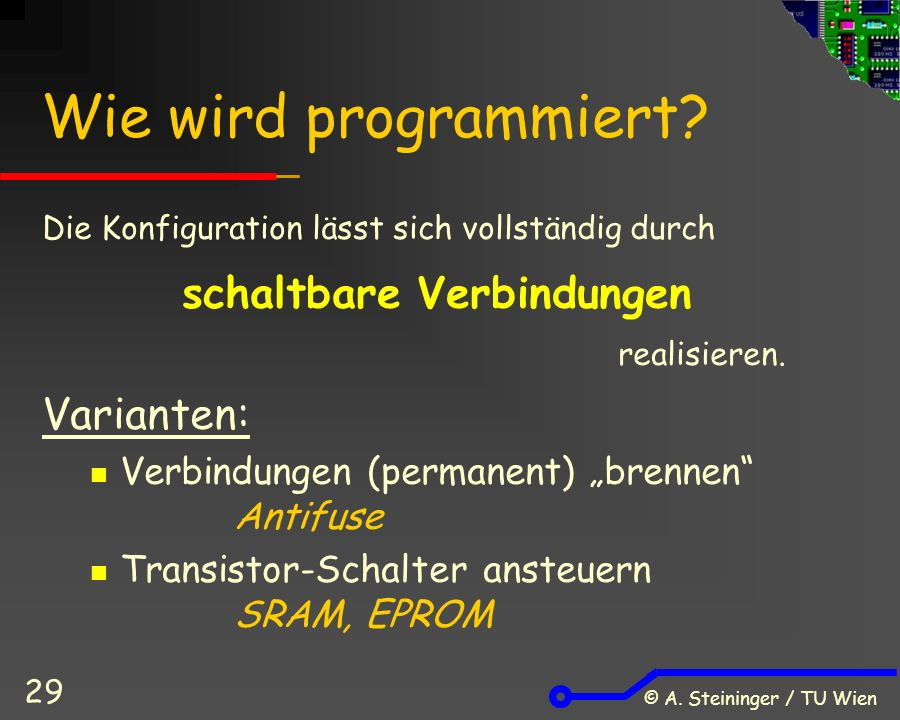 © A. Steininger / TU Wien 29 Wie wird programmiert.