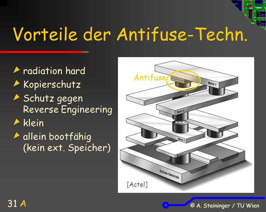© A. Steininger / TU Wien 31 Vorteile der Antifuse-Techn.