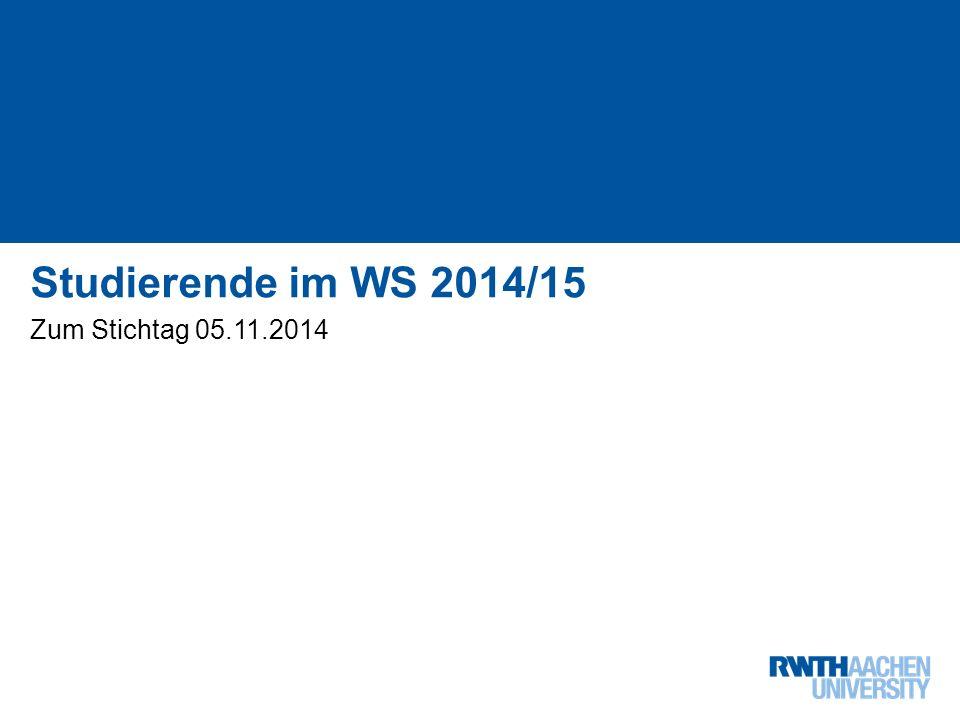 Institutslogo: -Dateiformat: PNG in RGB -Skalieren auf Höhe: 2,26 cm (Breite variiert je nach Schutzraum) 1 von 5 Studierende im WS 2014/15 Zum Stichtag 05.11.2014