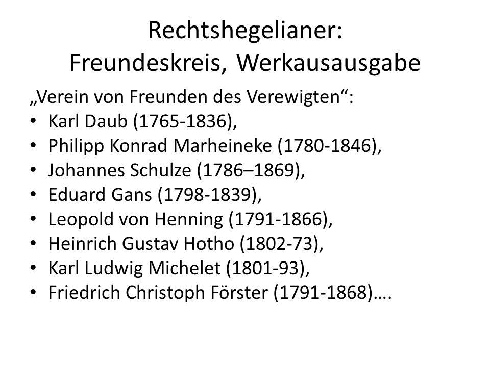 """Rechtshegelianer: Freundeskreis, Werkausausgabe """"Verein von Freunden des Verewigten : Karl Daub (1765-1836), Philipp Konrad Marheineke (1780-1846), Johannes Schulze (1786–1869), Eduard Gans (1798-1839), Leopold von Henning (1791-1866), Heinrich Gustav Hotho (1802-73), Karl Ludwig Michelet (1801-93), Friedrich Christoph Förster (1791-1868)…."""
