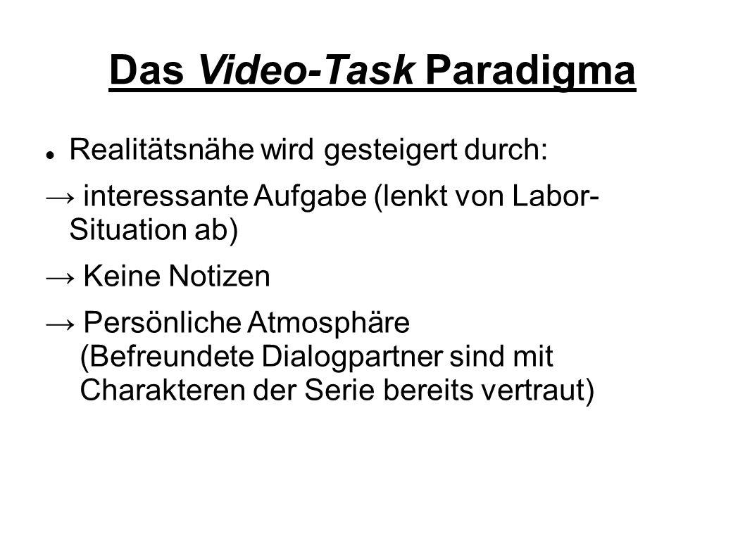 """Das Video-Task Paradigma → zwei ähnliche, nicht identische Zusammen- schnitte der Serie """"The Big Bang Theory → Jeder Sprecher eines Dialogpaares sah sich eine dieser Sequenzen an → Sprechaufgabe: Unterschiede und Gemeinsamkeiten im Videomaterial finden (http://www.ipds.uni-kiel.de/pub_exx/bp2001_1/Linda21.html)"""