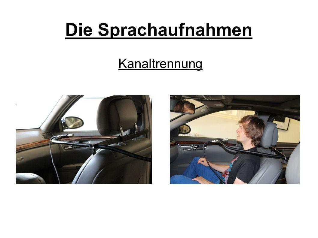 Die Sprachaufnahmen Kein Blickkontakt durch Sitzordnung Keiner der Probanden fuhr das Auto → Autofahren geht auf Kosten der Sprachproduktion (duale Aufgaben- bewältigung) (Becic et al.