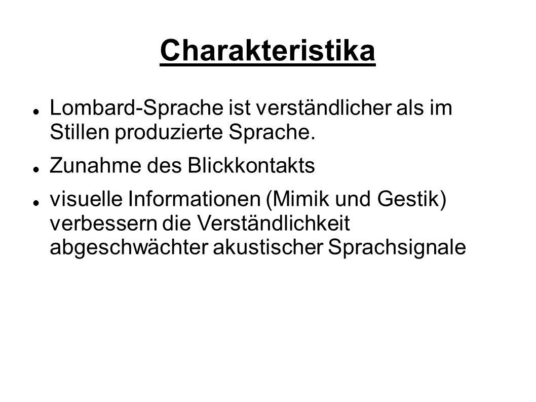 Charakteristika Lombard-Sprache ist verständlicher als im Stillen produzierte Sprache.