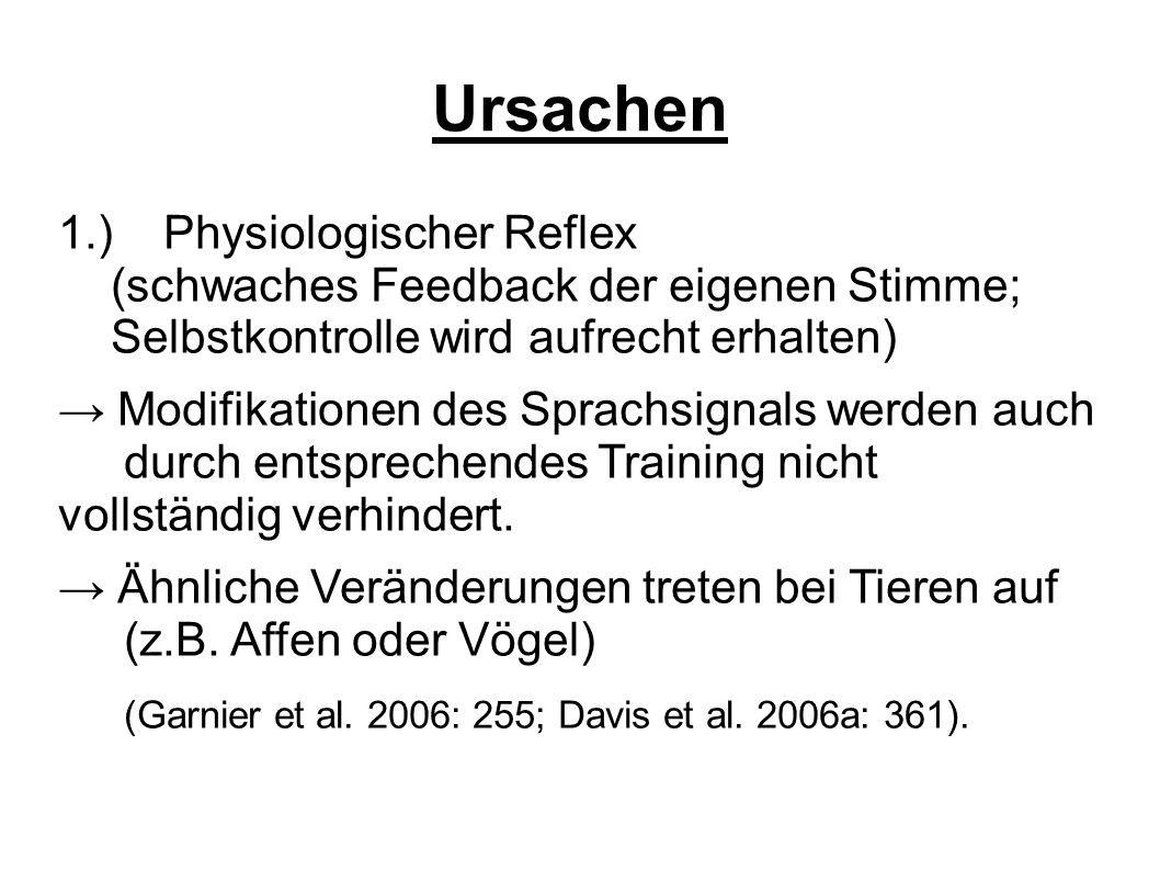 Ursachen 1.)Physiologischer Reflex (schwaches Feedback der eigenen Stimme; Selbstkontrolle wird aufrecht erhalten) → Modifikationen des Sprachsignals werden auch durch entsprechendes Training nicht vollständig verhindert.