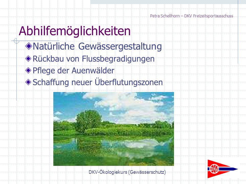DKV-Ökologiekurs (Gewässerschutz) Petra Schellhorn – DKV Freizeitsportausschuss Natürliche Gewässergestaltung Rückbau von Flussbegradigungen Pflege der Auenwälder Schaffung neuer Überflutungszonen Abhilfemöglichkeiten