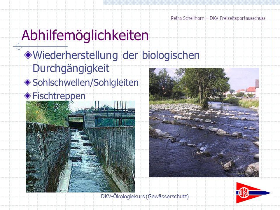 DKV-Ökologiekurs (Gewässerschutz) Petra Schellhorn – DKV Freizeitsportausschuss Wiederherstellung der biologischen Durchgängigkeit Sohlschwellen/Sohlgleiten Fischtreppen Abhilfemöglichkeiten