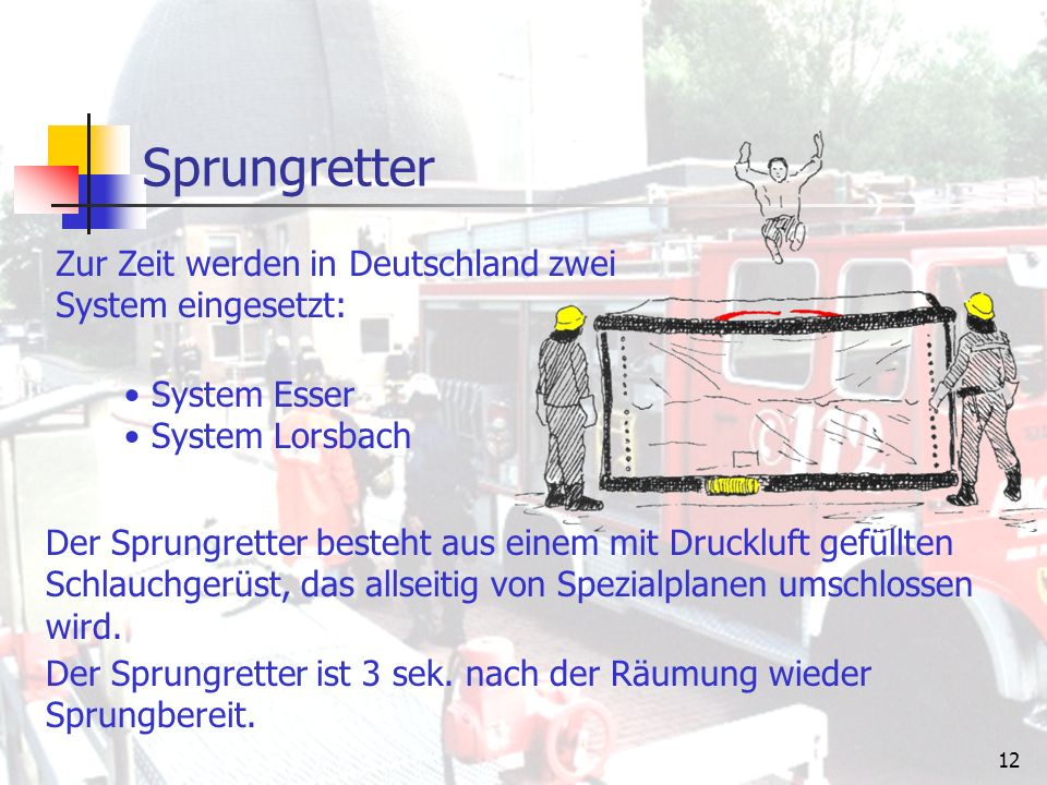 11 Sprungpolster Bezeichnung nach DIN:SP 16 Bedienmannschaft:6 Mann Rettungshöhe:16 m Material:Kunstfasern Auffangfläche:3 x 3 m, rund, 6- o.