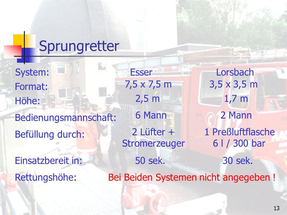 12 Sprungretter Zur Zeit werden in Deutschland zwei System eingesetzt: System Esser System Lorsbach Der Sprungretter besteht aus einem mit Druckluft gefüllten Schlauchgerüst, das allseitig von Spezialplanen umschlossen wird.