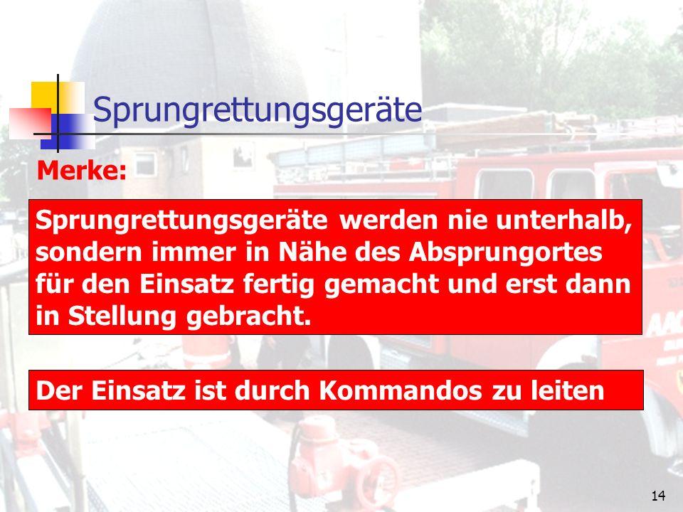 13 Sprungretter System:EsserLorsbach Format: Bedienungsmannschaft: Befüllung durch: Einsatzbereit in: Höhe: Rettungshöhe: 7,5 x 7,5 m3,5 x 3,5 m 2,5 m1,7 m 6 Mann2 Mann 2 Lüfter + Stromerzeuger 1 Preßluftflasche 6 l / 300 bar 50 sek.30 sek.