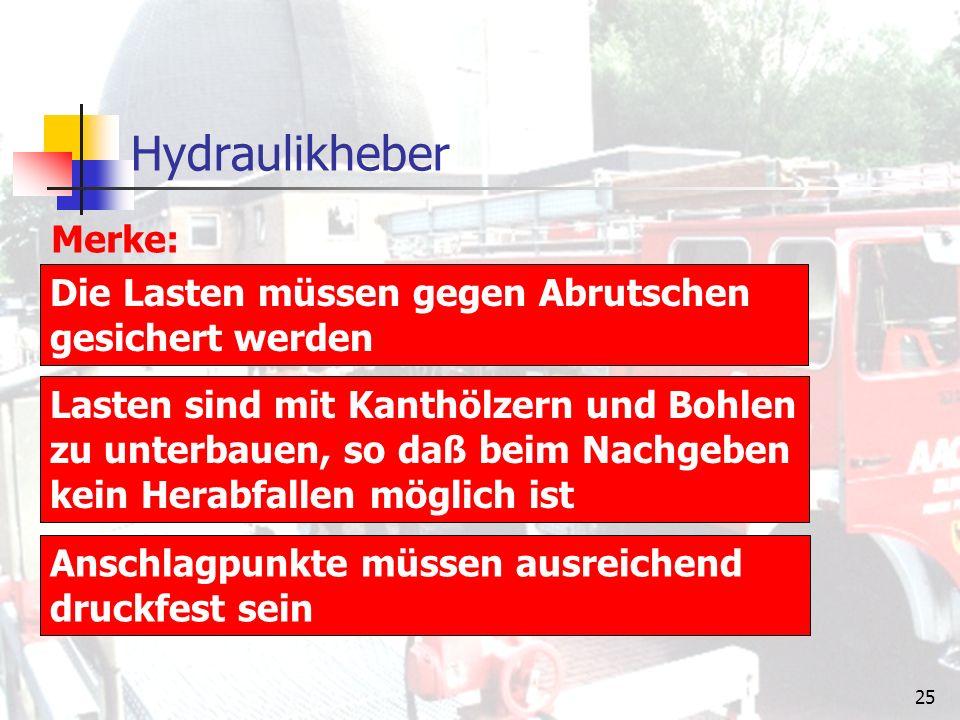 24 Rettungszylinder Bezeichnung: Zugkraft: Druckkraft: Anfangslänge: Endlänge: Gewicht: RZ 1-850RZ 2-1250RZ 3-1600 bei allen 120 kN bei allen 29 kN 530 mm750 mm1100 mm 850 mm1250 mm1600 mm 12,5 kg16 kg18,5 kg