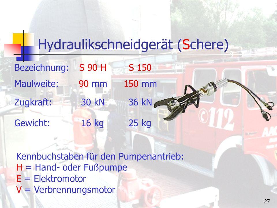 26 Spreizer Bezeichnung: Zugkraft: Spreizkraft: Spreizweite: Gewicht: SP 30 VSP 45 E 30 – 44 kN> 45 kN 24 – 35 kN36 kN 25 kg30 kg 600 mm800 mm Kennbuchstaben für den Pumpenantrieb: H = Hand- oder Fußpumpe E = Elektromotor V = Verbrennungsmotor