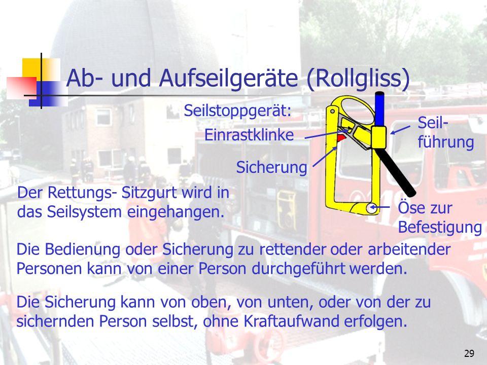 """28 Ab- und Aufseilgeräte (Rollgliss) Bauteile: Universal – Gerät Sicherheitsseil 60 m Rettungs- Sitzgurt Umlenkrolle Seilstoppgerät Sicherungsgurt """"Rollgliss ist eine Firmenbezeichnung für ein bei der Feuerwehr weitverbreitetes Ab- und Aufseilgerät."""