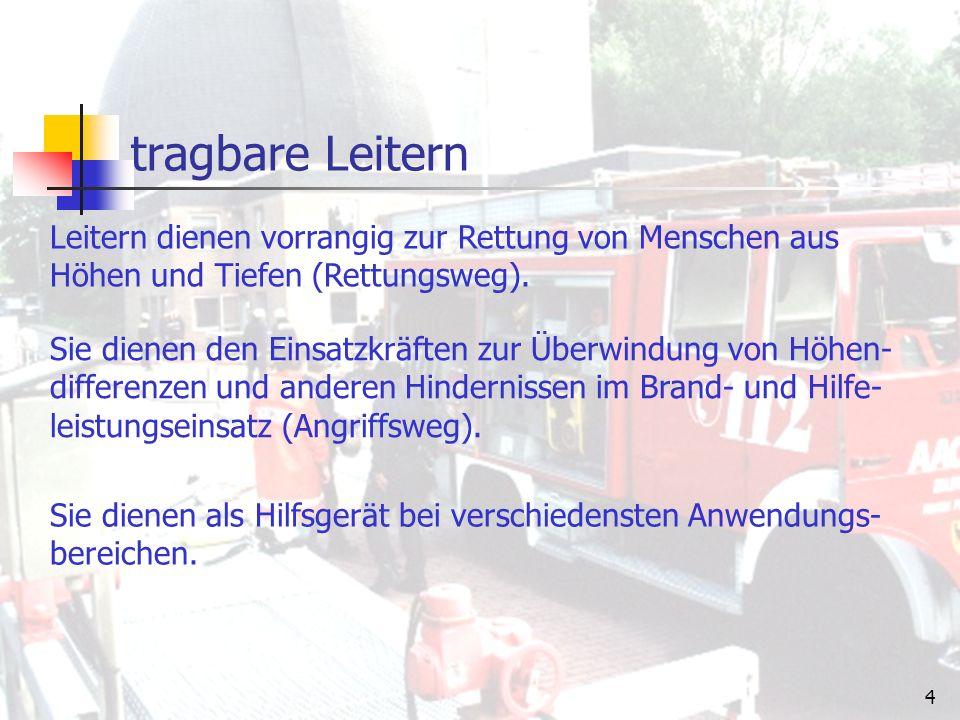 """3 tragbare Leitern Als """"tragbare Leitern werden alle auf Feuerwehrfahrzeugen mitgeführten Leitern bezeichnet, die von der Mannschaft vom Fahrzeug genommen und an die vorgesehene Stelle getragen werden."""