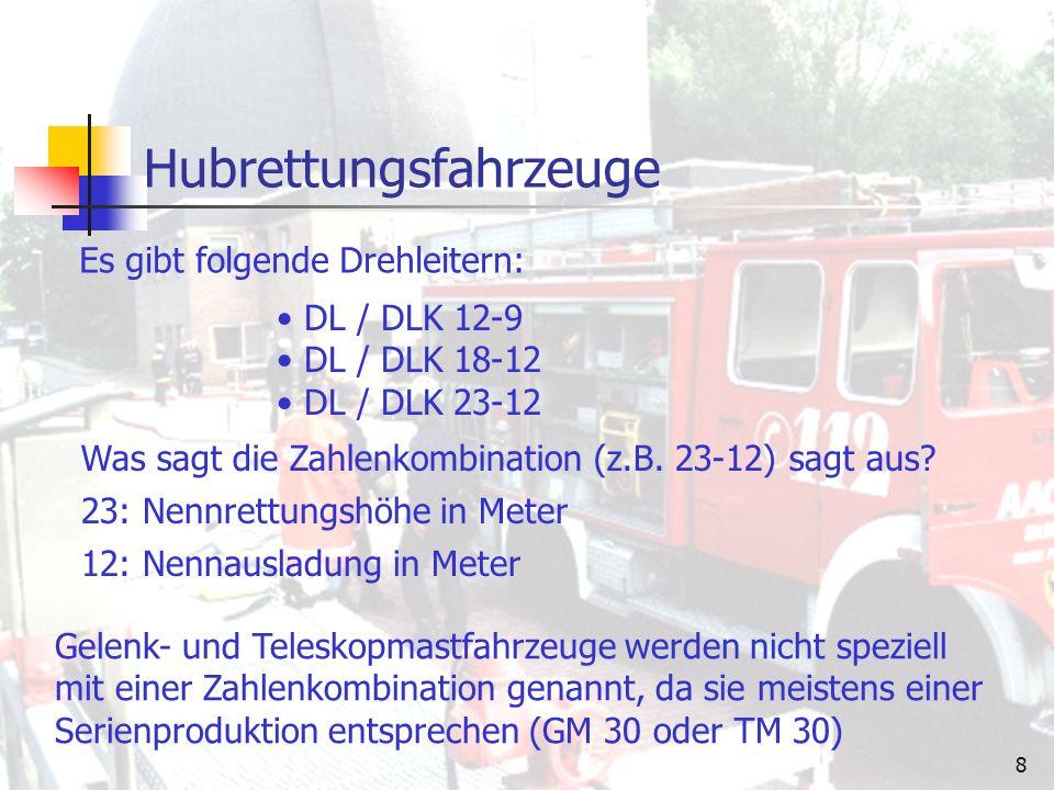 7 Hubrettungsfahrzeuge Drehleitern (DL) Drehleiter mit Rettungskorb (DLK) Gelenkmast (GM) Teleskopmast (TM) Es gibt folgende Arten von Hubrettungsfahrzeugen: Gelenk- und Teleskopmastfahrzeuge findet man häufig nur bei große Feuerwehren, bei denen bereits Drehleitern vorhanden sind.