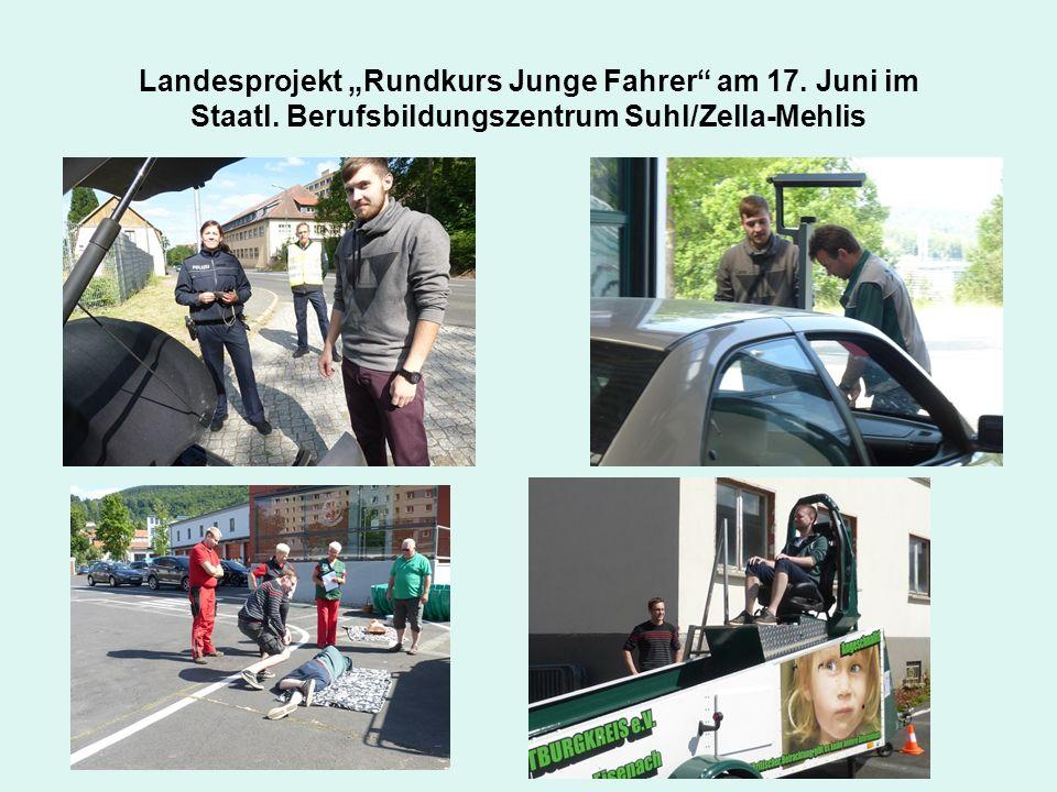 """Landesprojekt """"Rundkurs Junge Fahrer"""" am 17. Juni im Staatl. Berufsbildungszentrum Suhl/Zella-Mehlis"""