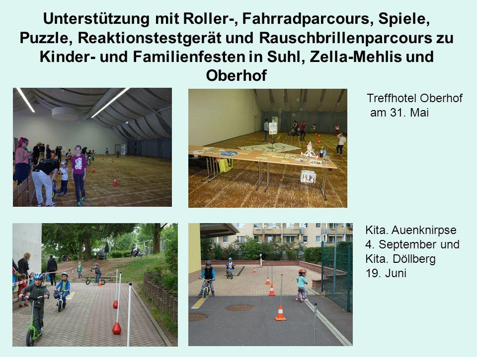 Unterstützung mit Roller-, Fahrradparcours, Spiele, Puzzle, Reaktionstestgerät und Rauschbrillenparcours zu Kinder- und Familienfesten in Suhl, Zella-