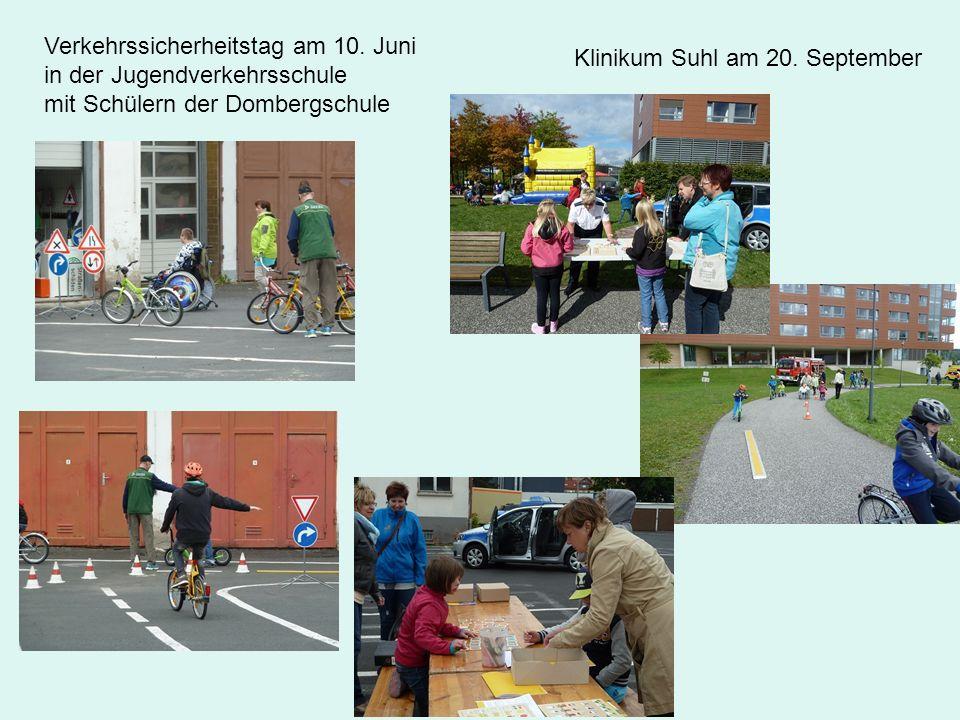 Klinikum Suhl am 20. September Verkehrssicherheitstag am 10. Juni in der Jugendverkehrsschule mit Schülern der Dombergschule