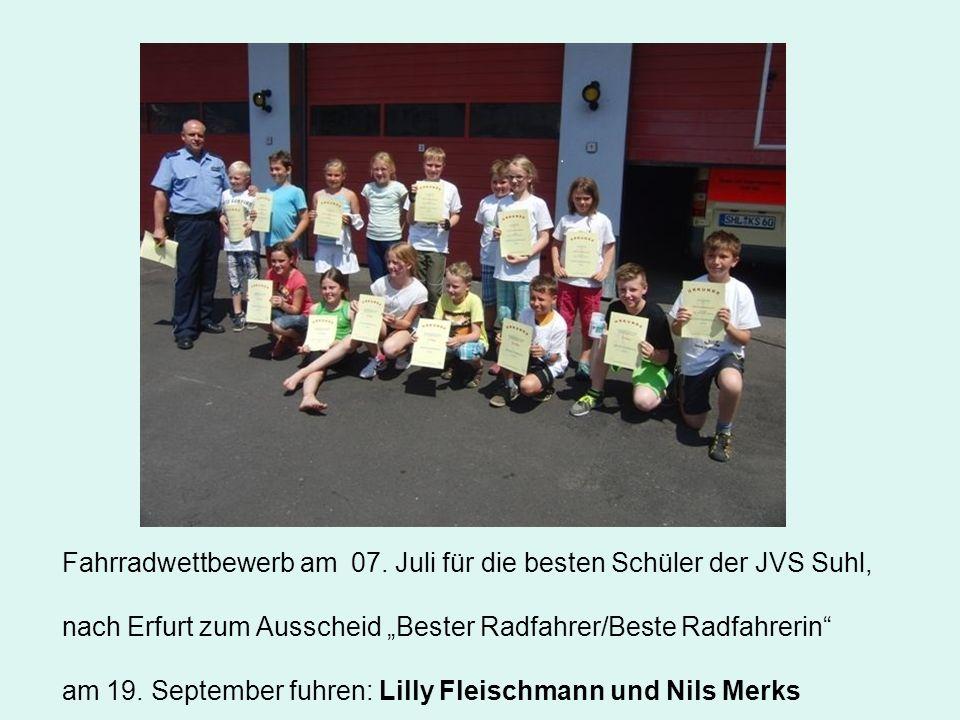 """Fahrradwettbewerb am 07. Juli für die besten Schüler der JVS Suhl, nach Erfurt zum Ausscheid """"Bester Radfahrer/Beste Radfahrerin"""" am 19. September fuh"""