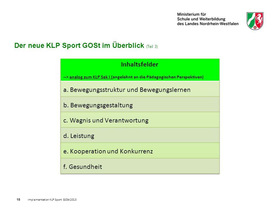 18 Der neue KLP Sport GOSt im Überblick (Teil 3) Implementation KLP Sport GOSt 2013