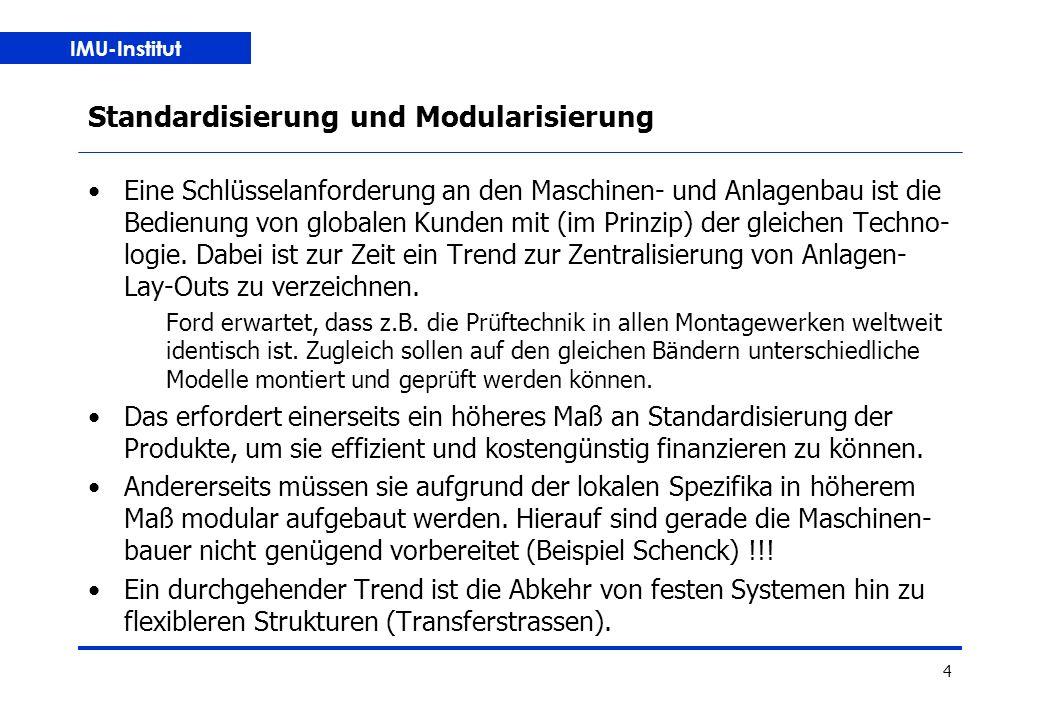 IMU-Institut 4 Standardisierung und Modularisierung Eine Schlüsselanforderung an den Maschinen- und Anlagenbau ist die Bedienung von globalen Kunden mit (im Prinzip) der gleichen Techno- logie.