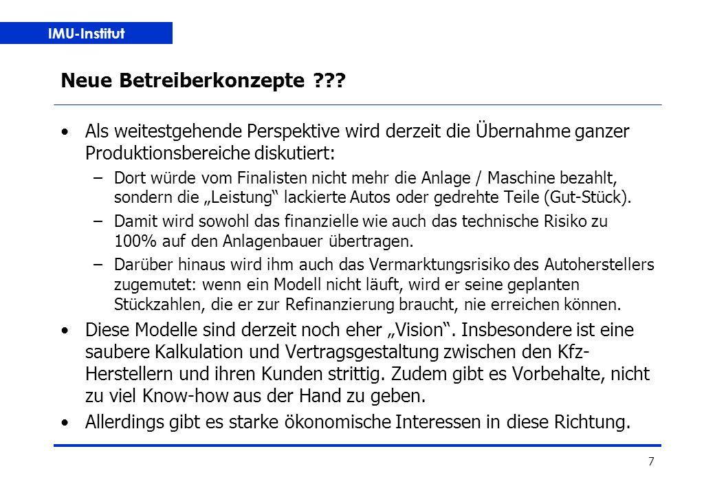 IMU-Institut 7 Neue Betreiberkonzepte .