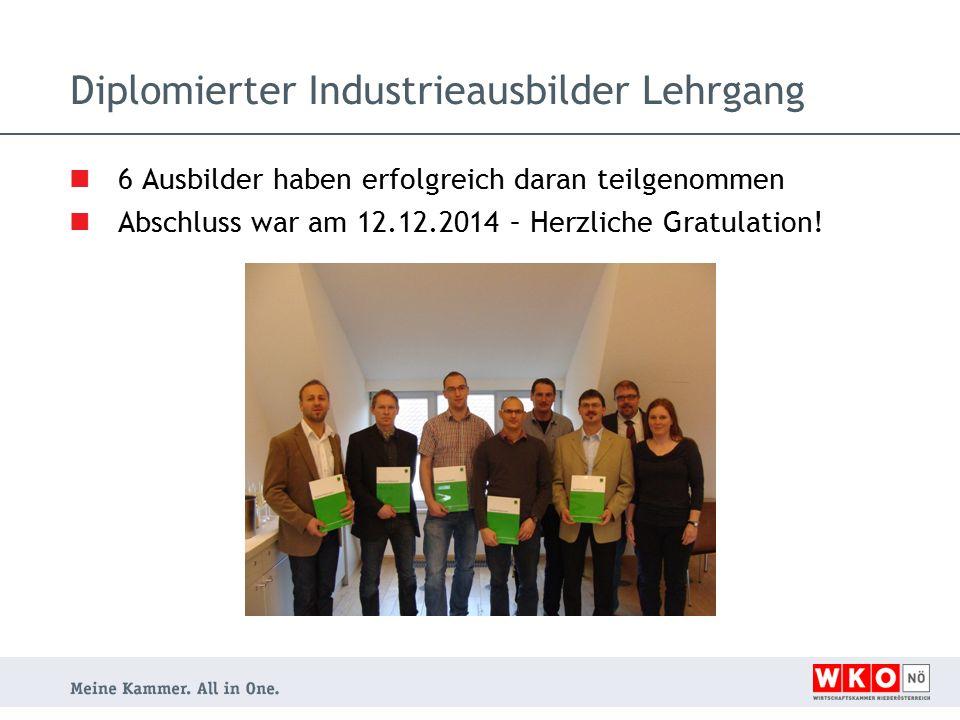 Diplomierter Industrieausbilder Lehrgang 6 Ausbilder haben erfolgreich daran teilgenommen Abschluss war am 12.12.2014 – Herzliche Gratulation!